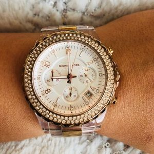 Michael Kors watch rose gold clear